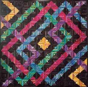 log cabin quilt patterns | Planet Maze Log Cabin