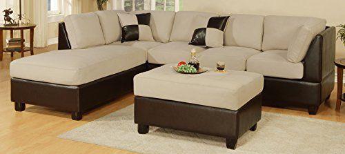 Bobkona Hungtinton Microfiber/Faux Leather 3-Piece Sectional Sofa Set //Price: $375 & FREE Shipping //     #hashtag4