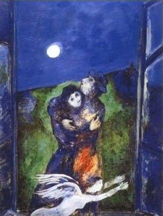 """Marc Chagall, Lovers in the Moonlight ~ """"Only love interests me, and I am only in contact with things that revolve around love."""" ~ Marc Chagall"""