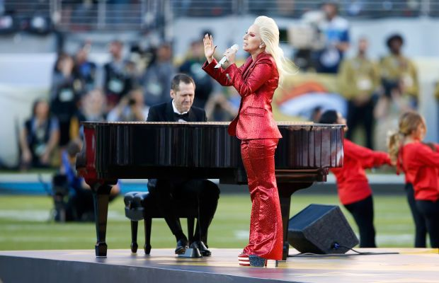 Lady Gaga Wore a Custom Gucci Suit to Sing the Super Bowl National Anthem by Fashionista  #AlessandroMichele, #Fashion, #Gucci, #LadyGaga, #Style, #SuperBowl50