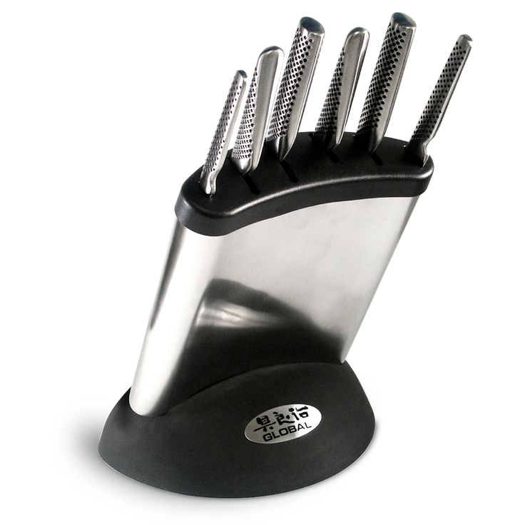 Peter's of Kensington | Global - Synergy Knife Block Set 7pce $299    Contains:  8cm Paring Knife.  11cm Utility Knife.  13cm Cook's Knife.  14cm Vegetable Knife.  20cm Cook's Knife.  22cm Bread Knife.  Knife Storage Block.