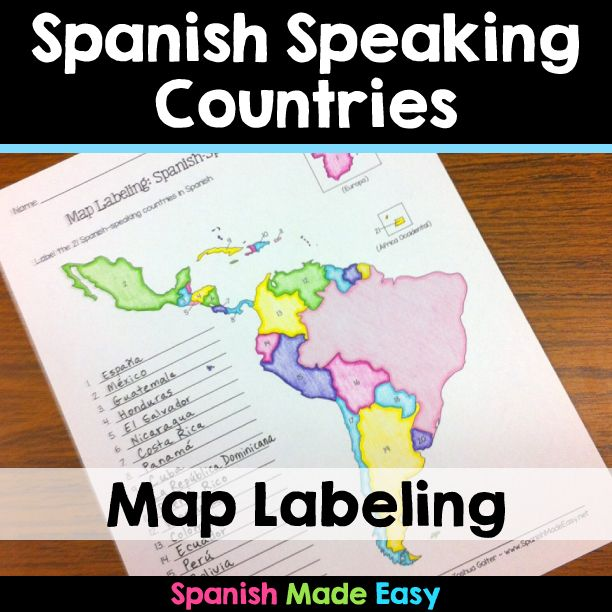 This is a map labeling activity over the 21 Spanish-speaking countries. Students will label the 21 Spanish-speaking countries in Spanish. This is a great activity when reviewing Spanish-speaking countries or geography. Makes a great coloring activity.