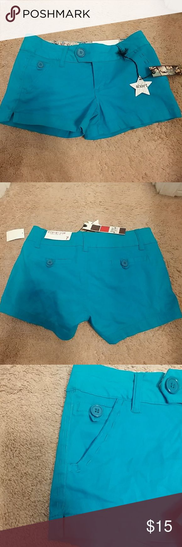 Turquoise shorts Very short turquoise shorts. Super cute but never worn. Non smoking home. Love the stitching on the sides! Freestyle Shorts