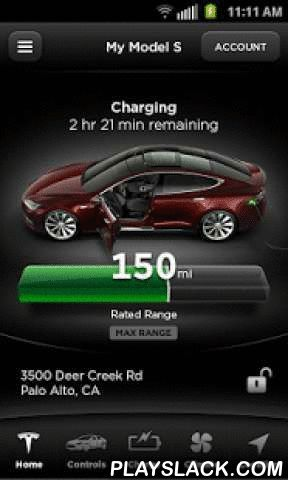 Tesla Motors (Beta)  Android App - playslack.com ,  The Tesla Motors Beta app puts Tesla owners in direct communication with their cars anytime, anywhere. With this app, owners can:  - Check charging progress in real time and start or stop charge - Heat or cool your car before driving — even if it's in a garage - Locate your car with directions or track its movement across a map - Flash lights or honk the horn to find your car when parked - Vent or close the panoramic roof - Lock or unlock…