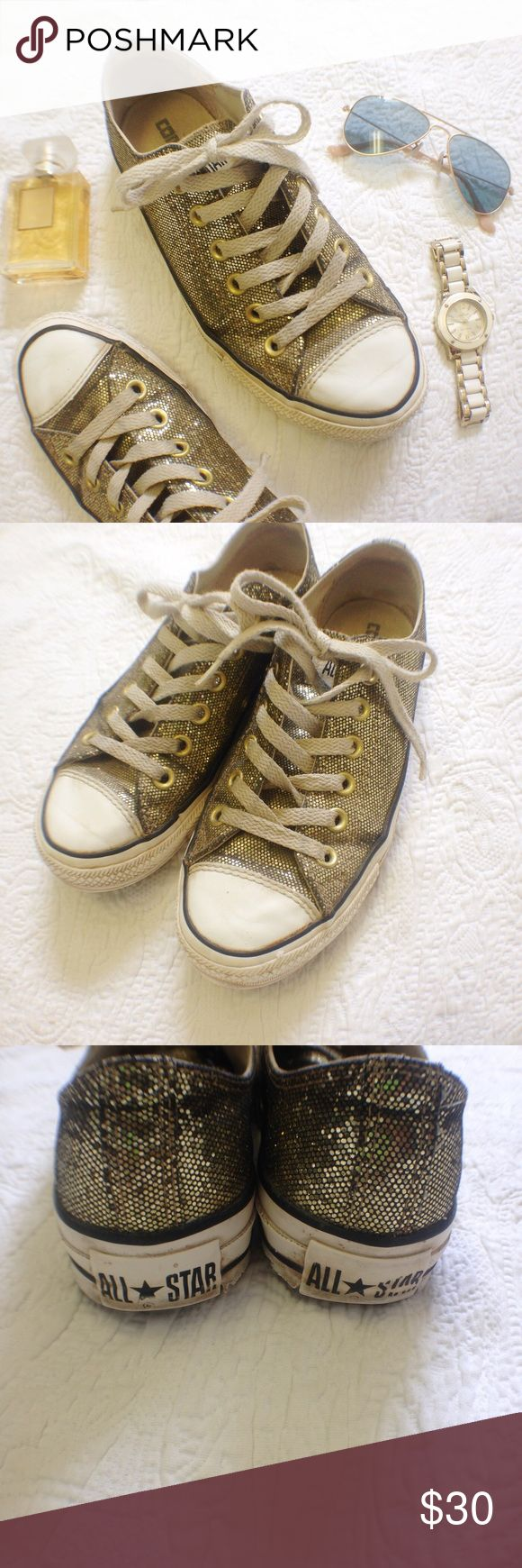 New Listing! Gold Glitter Converse Lows The sparkle!! These rare glitter Converse in gold are such a fun addition to any outfit. Condition is average - there are no flaws on the glitter/top area but the soles are worn as shown. Ships same day from a smoke free home! Converse Shoes Sneakers