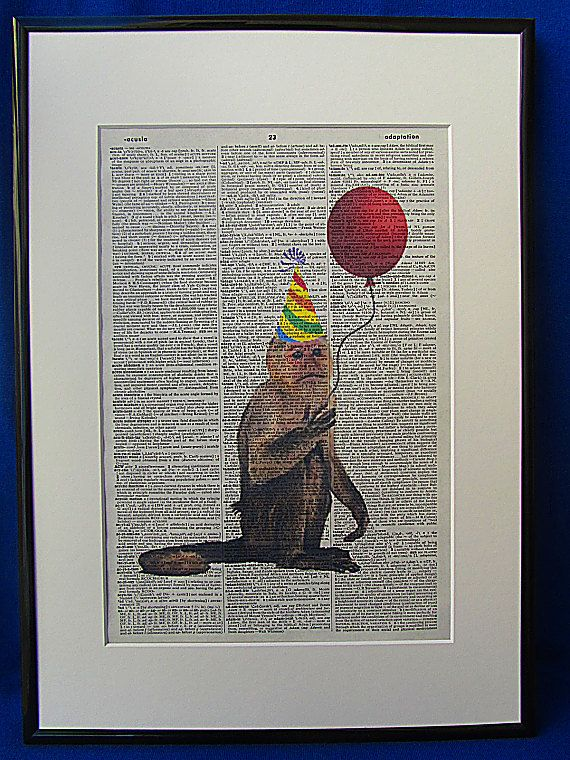 Party Time Monkey Wall Art Print by DecorisDesigns on Etsy