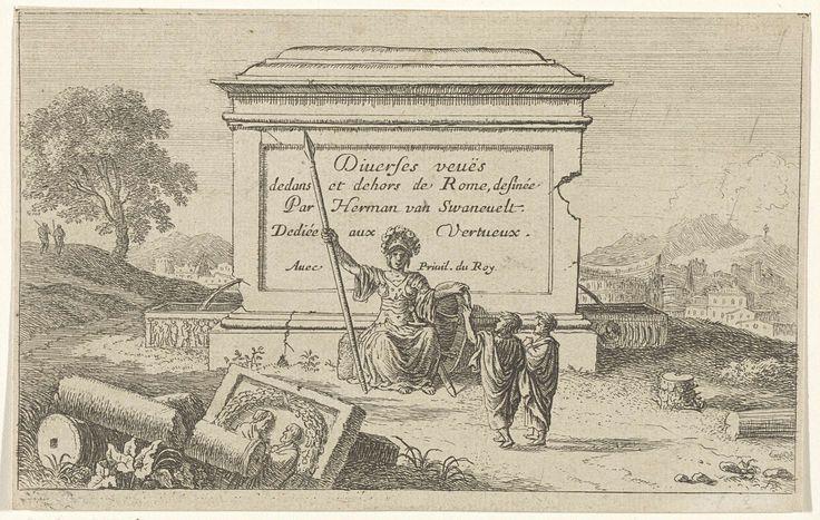 Herman van Swanevelt | Minerva gezeten voor een sokkel, Herman van Swanevelt, after 1653 | Voor een sokkel met een inscriptie zit Minerva met een speer, een helm en een schild. Voor haar staan twee figuren en op de grond liggen gebroken zuilen bij een basrelief met twee mannelijke bustes en een guirlande. In de verte ligt Rome. De serie is opgedragen aan 'Vertueux', de deugdzame.