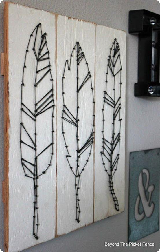 DIY Wall Art ~ DIY Feather String Art