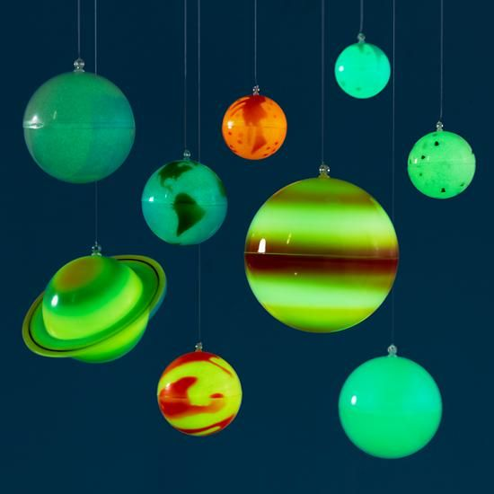 Comhanging Solar System For Kids Room : Hanging Décor: Kids Colorful Hanging Glow in the Dark Solar System ...