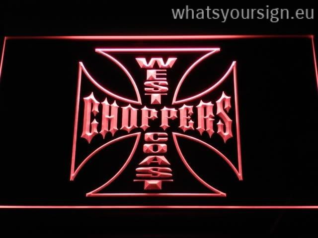 West Coast Choppers - LED neon sign light display made of the first-class quality clear acrylic and glowing colorful illumination. The neon sign displays exactly the same from every angle thanks to the carving with the newest 3D laser engraving technology. This LED neon sign is a great gift idea! The neon is provided with a metal chain for displaying. Available in 3 sizes in following colours: Green, Yellow, White, Red, Purple, Orange and Blue!