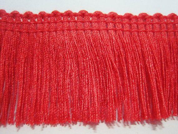 5 verges rouge coton Tassel Trim, Trim de rouge, rouge franges, en gros de garniture, garniture lot, Gland rouge, pompon de coton rouge, rouge chainette fringe