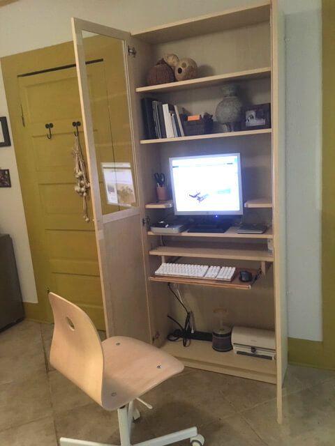 Computer Hutch Hidden Away In Billy Bookshelf Ikea Ideas