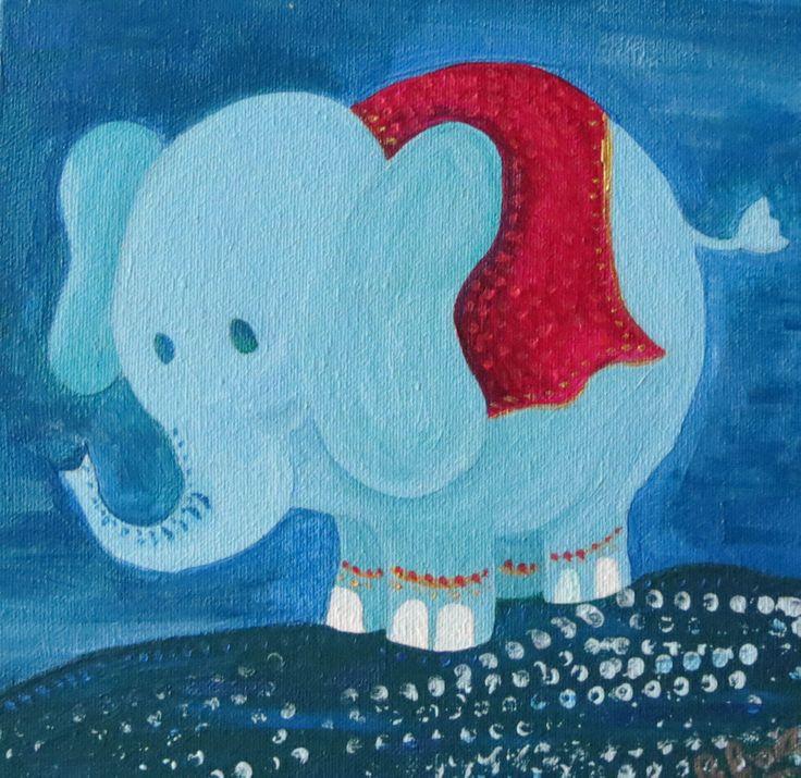 Elefantito Azul / Acrílico 20 x 20