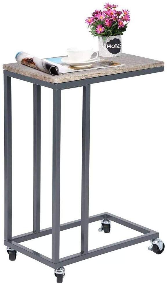 Sofa Side Table With Wheels Has Four Metal Wheels That Make It