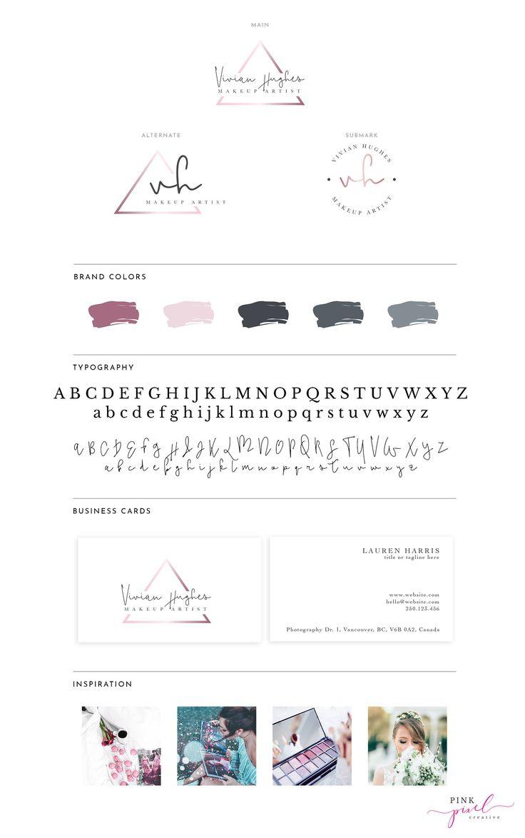 Rose Gold Logo, makeup artist logo, makeup logo, Calligraphy Logo, Branding Kit Design, Branding Logo Kit, Mini Branding Kit - A3