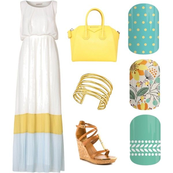 Jamberry + Yellow Maxi Dress Teal Mini Polka :: Sweet Whimsy :: Cabana Spring Summer 2015 Fashion Collage Nail Wraps Maxi Dress