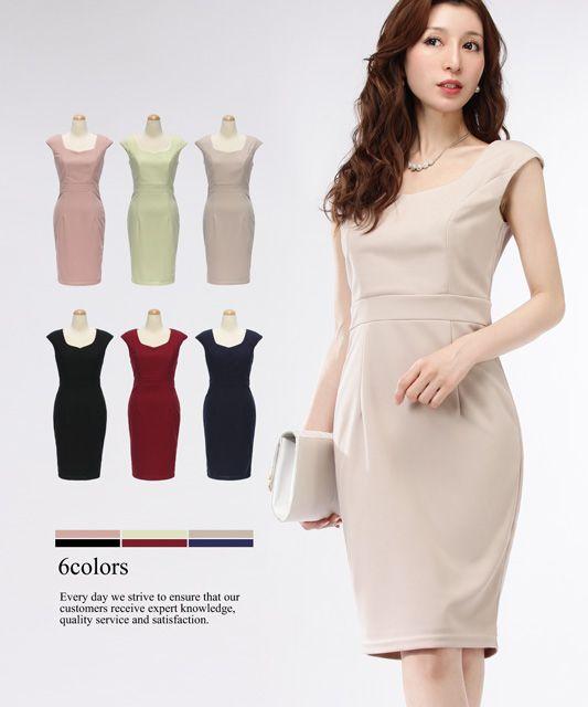 7b3b373584dc1 ドレス通販DressLine ドレスライン     4サイズ フレンチスリーブ ニーレングス