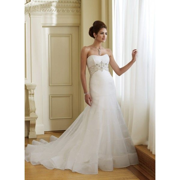 Strapless Empire Waist Satin Organza Wedding Dress