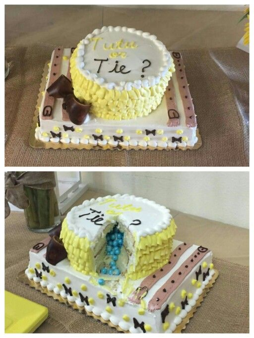 Tutu or Tie Gender Reveal Cake Created by Publix Bakery