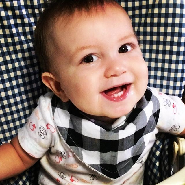 Levi modelling a new bandana bib design we are considering adding to our range... We also have denim bibs and nappy covers coming. What do you think... Add more gingham love? #monochrome #leviandevelyn #leviandevelynlove #bandanabib #newdesign #denim