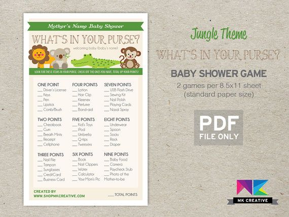 Personalized Baby Shower Game! Whatu0027s In Your Purse   Fun, Beautiful U0026  Cheap! Jungle ThemeBaby ...