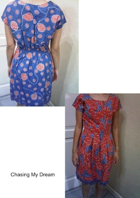 orange-blue dress (fabric: cotton-Batik Tulis Madura)
