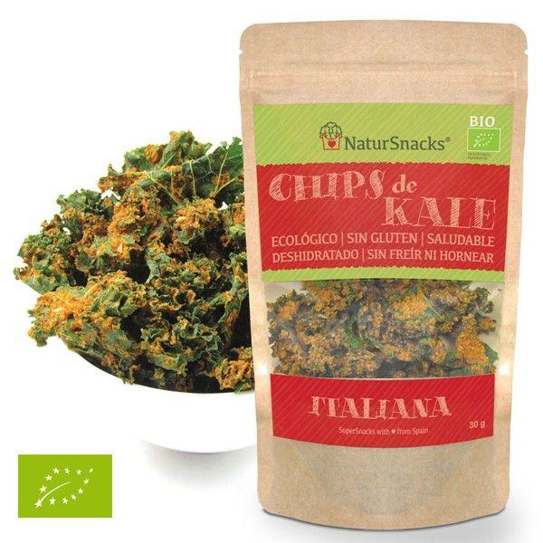 CHIPS KALE - ITALIANA BIO Chips de Kale - Italiana bolsas de 30 gramos.  Ingredientes:  Kale (Col rizada), semillas de girasol, tomate, limón, pimentón dulce, cebolla, oregano, cilantro, pimentos picante, albahaca, sal. Nuestros aperitivos gourmet están de moda, son deliciosos y saludables, naturales, sin gluten, veganos, sin hornear ni freír.