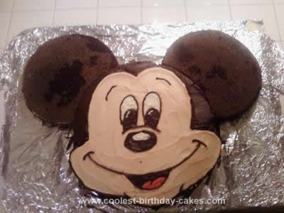 Homemade Mickey Mouse Cake: This Mickey Mouse Cake is the easiest cake ever! (this picture is even before I put the icing on the ears). I used different size round cake pans and 2