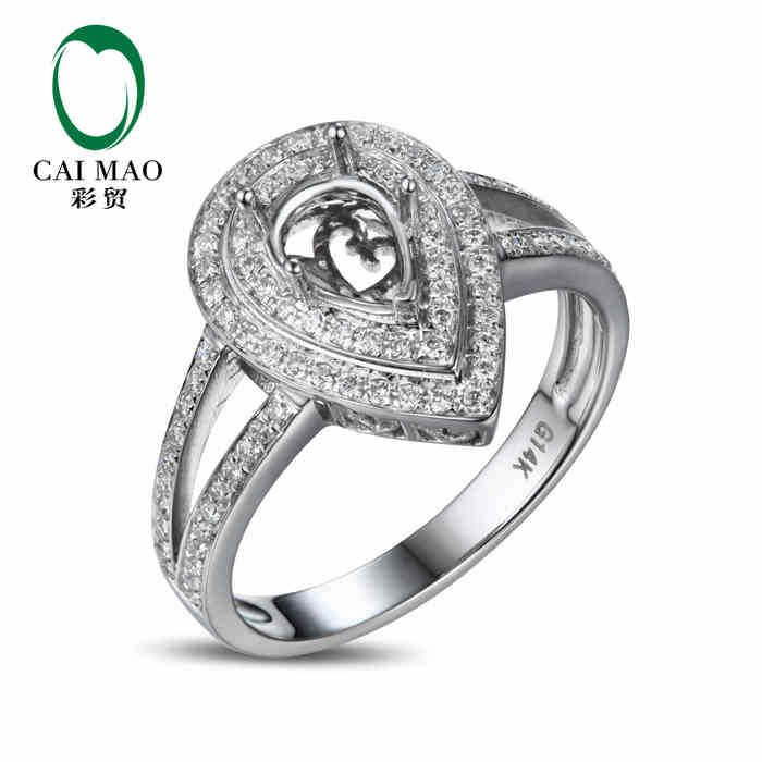 >> Click to Buy << CaiMao Pear cut Semi Mount Ring Settings & 0.38ct Diamond 14k White Gold Gemstone Engagement Ring Fine Jewelry #Affiliate