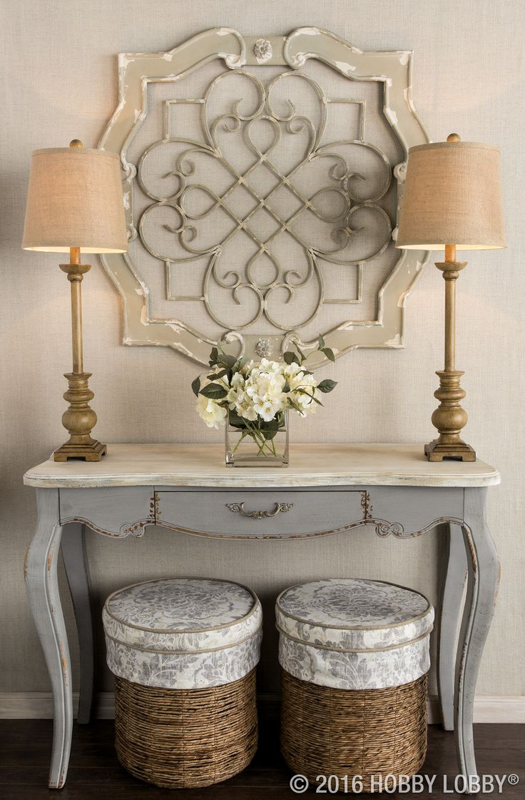 Rustic living room decor rustic hallway table and rustic entryway - Antique Cream Wood Metal Wall Decor