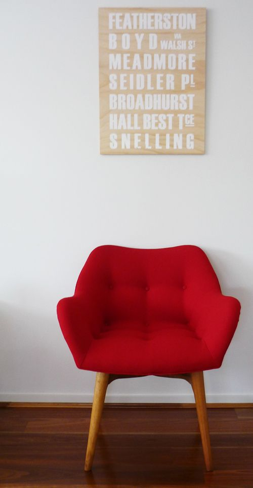 love the white lettering on natural board: Dreams Chairs, Featherston Chairs, Century Design, Chairs Porn, Danishes Chairs, Red Chairs, Reading Chairs, Studios Couch,  Day Beds