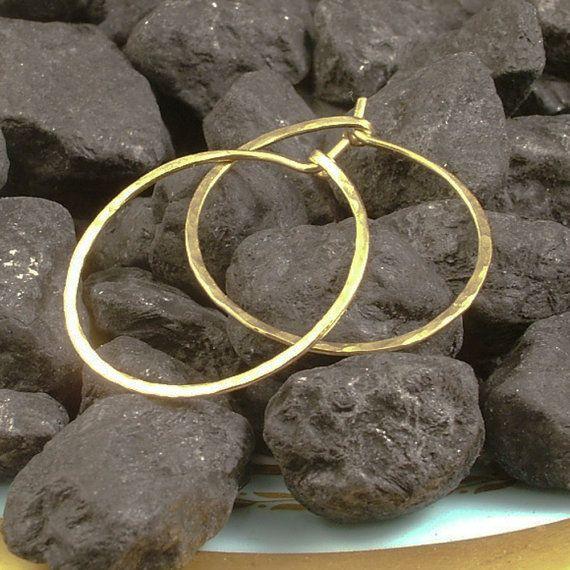Hammered Gold Hoops / 1 Inch Gold Hoop Earrings / by MetalRocks