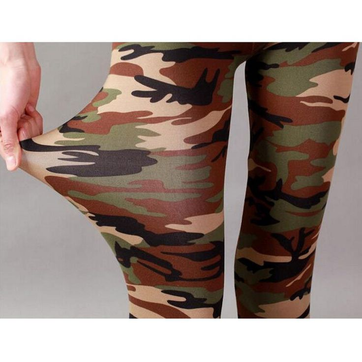 Leopard Army Leggings Slim Pants Elastic Camouflage  Cotton