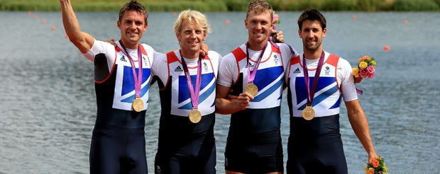 Great Britain's Men's Four of (left to right) Pete Reed, Andrew Triggs Hodge, Alex Gregory and Tom James