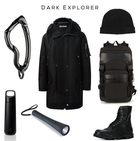 Dark Explorer Style Set //  Clockwise: Arcus carabiner by @svorndesign, Parka by Givenchy, Beanie Hat by Lemaire, Backpack by Y3, Military Boots by Diesel, Flashlight by PSL, Water Bottle by Kor // #mensstyle #mensfashion #allblack #exporer #edc #essentials #luxury #givenchy #menswear #streetwear