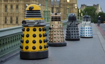 The world of Doctor Who has become reality as four generations of Daleks crossed Westminster Bridge to re-enact a classic scene from 1964.