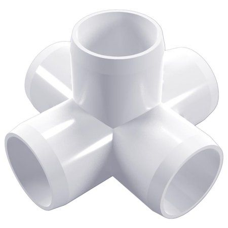 PVC Pipeworks 1-1/4 inch 5-Way PVC Furniture Grade Fitting in White - Side Outlet Cross (4-Pack)