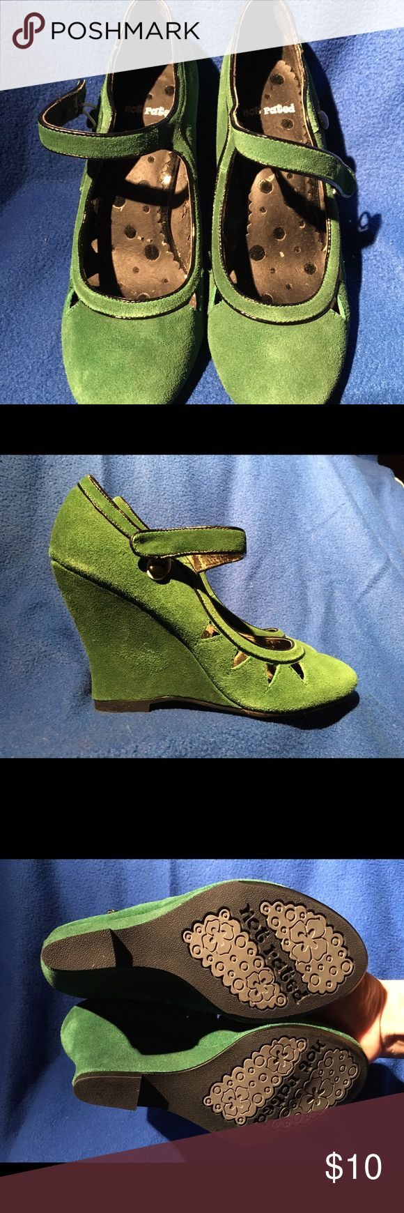 Trendy emerald green wedges. Reposh. Trendy emerald green wedges. The say 7.5 but are definitely NOT. They fit more like a 6.5. The heel is about 3.5-4 inches. I wish they had fit me because they are so cute. Shoes Wedges