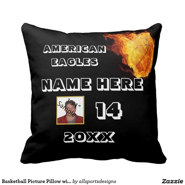 Basketball Picture Pillow with Player's Name  Personalized Basketball picture pillow with Name of player's, Photo of player,Name of team,Number of jersey and the Year on it. This blue Basketball cushion is great for a gift.Delete any or all text. IMPORTANT Personalize each photo Basketball image, ONE at a Time, ADD that picture pillow to the CART.