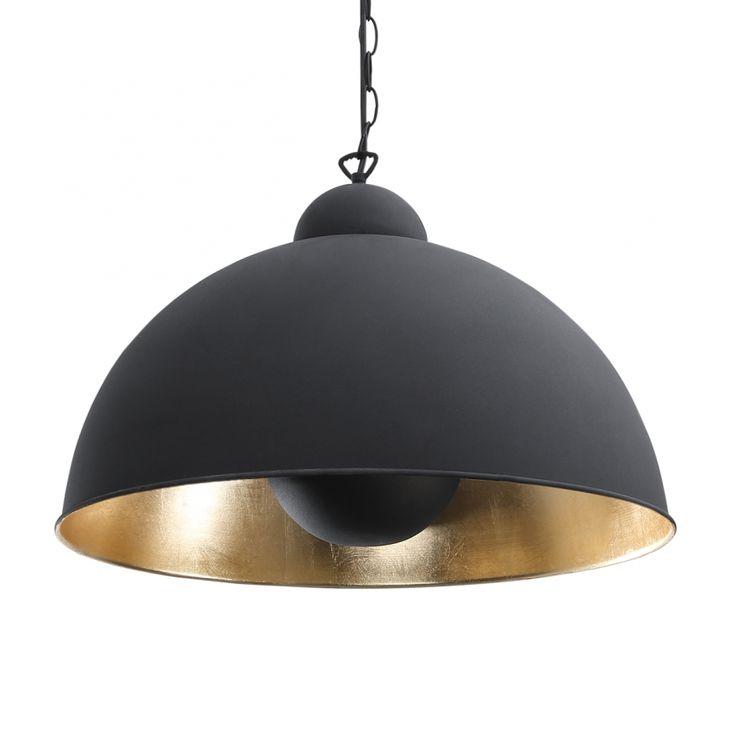 Mooie combi! Hanglamp Irving: matzwart industriële look van buiten met goudkleurige binnenkant.