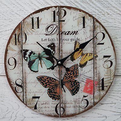 Reloj De Pared Shabby Chic Rústico Vintage Redondo Crema Mariposa Sueño Fe De Cristal | Home, Furniture & DIY, Clocks, Wall Clocks | eBay!