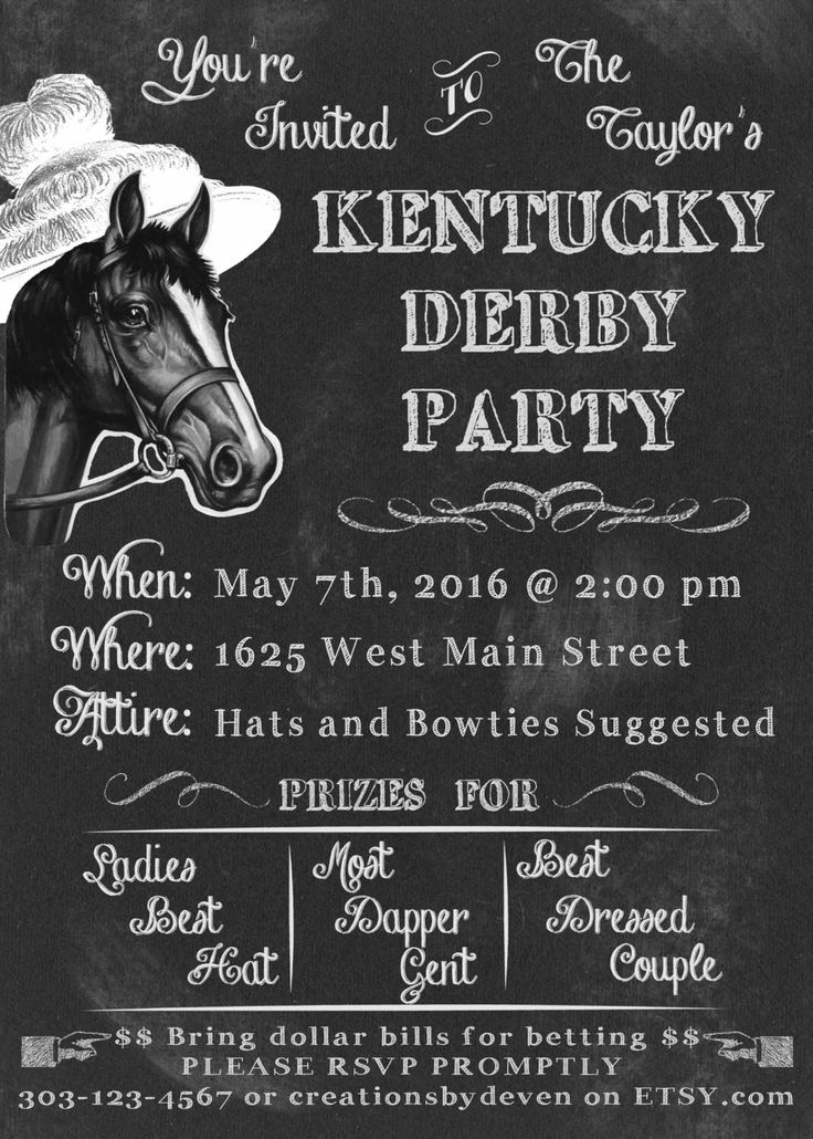 Kentucky Derby Party Preakness Stakes Belmont Stakes Invitations Chalkboard Style Digital Download or printed available by CreationsbyDeven on Etsy https://www.etsy.com/listing/222258190/kentucky-derby-party-preakness-stakes