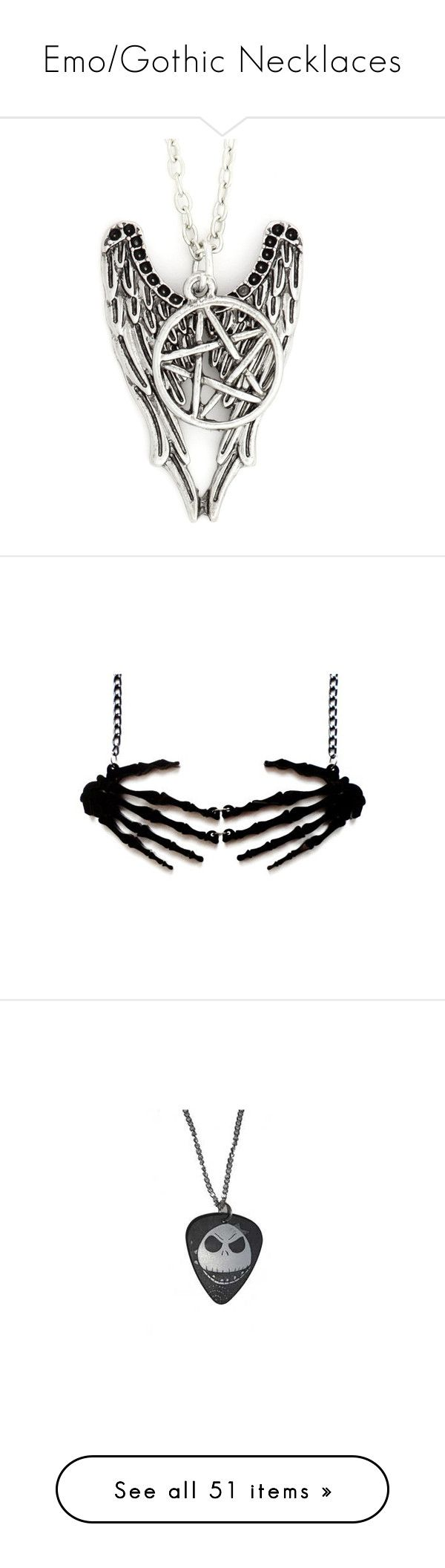 """Emo/Gothic Necklaces"" by deadovertrouble666 on Polyvore featuring jewelry, accessories, necklaces, star jewelry, pentagram pendant, silver tone jewelry, metal jewelry, pentagram jewelry, gothic necklace and skeleton jewelry"