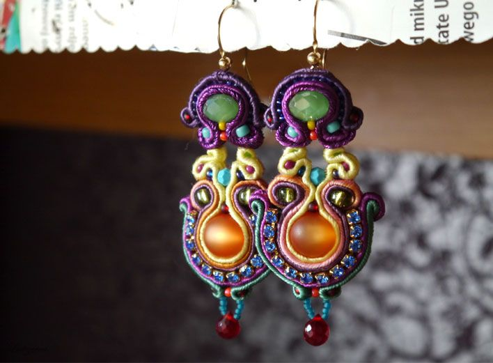 #soutache #earrings #gold #orient #ruby #www.ludozerna.com