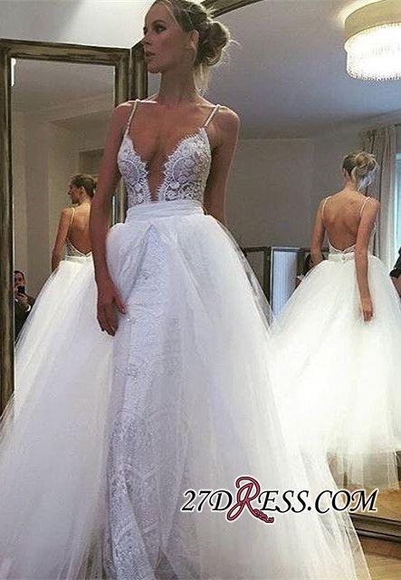 Gorgeous Spaghetti Strap Lace Ruffles 2018 Wedding Dress Online_2018 Wedding Dresses_Wedding Dresses_High Quality Wedding Dresses, Prom Dresses, Evening Dresses, Bridesmaid Dresses, Homecoming Dress - 27DRESS.COM