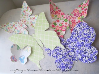 Tutorial on how to make some 3D wall hanging butterflies from fabric and cardstock. Crafting with a Southern Heart: It's Blooming Butterflies