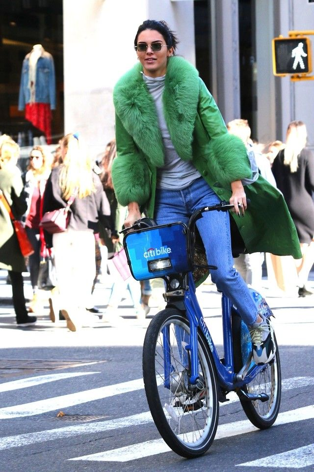 check out 995bc 7011e Kendall Jenner wearing Adidas Yeezy Wave Runner 700 Solid Grey, SAKS POTTS  Long Belted Coat
