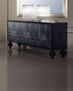 Diva Collection Giulietta luxury black lacquered sideboard with alligator doors and bun feet.