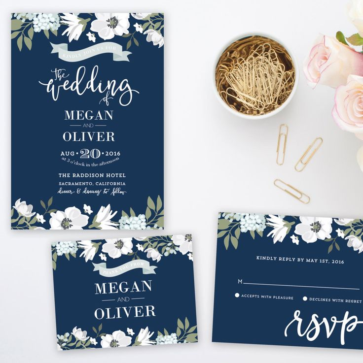 Navy Blue Fl Wedding Invitation Suite Printable By Papermintprints On Etsy Https