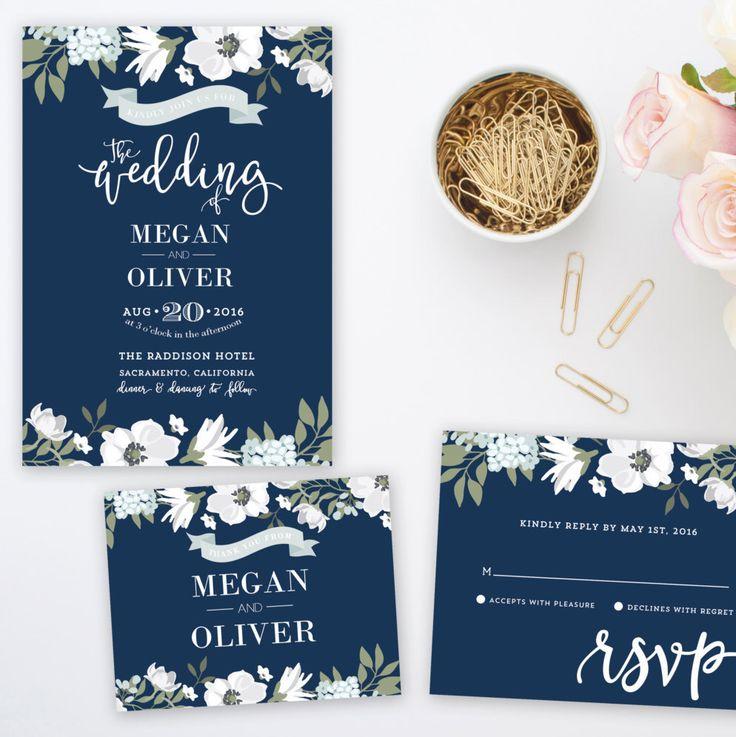 Megan Suite Printable Wedding Invitation Navy Blue Fl Flowers Rustic Thank You Card Rsvp